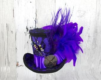 Black Lace over Purple Steampunk Large Mini Top Hat Fascinator, Alice in Wonderland, Mad Hatter Tea Party, Derby Hat