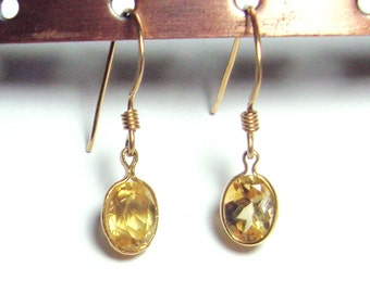 Citrine gold filled french hook earrings