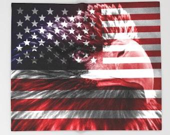American Flag Blanket USA flag Blanket Flag art Military Blanket Eagle Blanket Independence day Blanket Red Blanket Patriot Blanket