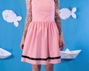 SALES Pink Cotton Dress / Pink Dress / Pleated Dress / Airwaves Dress / Midi