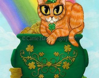 St. Paddy's Day Cat Art St. Patrick's Cat Painting Lucky Orange Tabby Irish Cat Rainbow Fantasy Cat Art Print 5x7 Cat Lovers Art