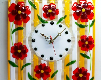 Wall Clock Handmade Fused Glass Designer Clock Yellow and White with 7 Poppies