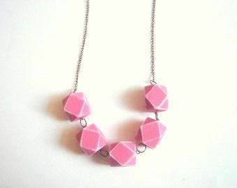 Geometric Necklace ,  Pink  Wood Geometric Necklace,Geometric Jewelry
