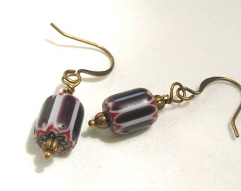 Striped Dark Purple & White Glass Antiqued Bronze Dangle Earrings