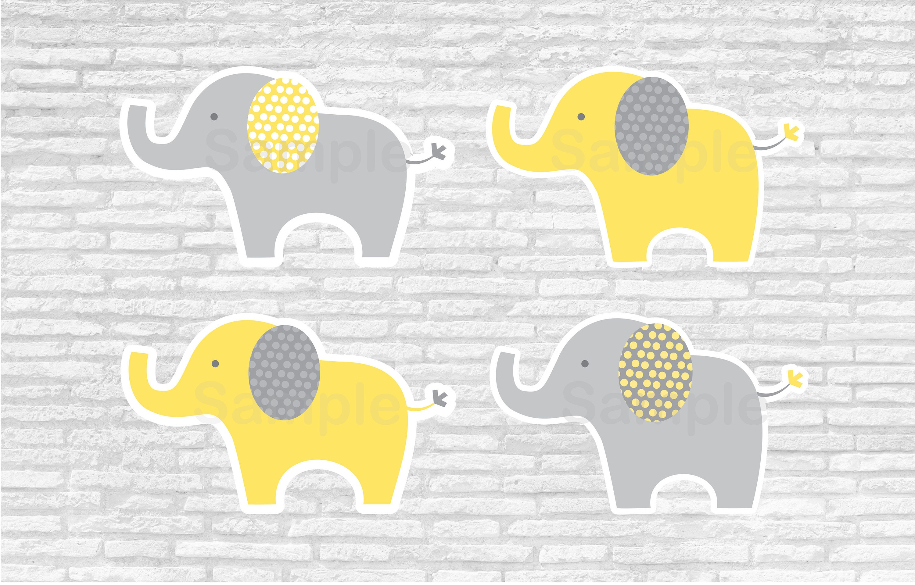 Yellow Elephant Baby Shower Cut Outs Elephant Baby Shower