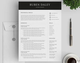 Professional CV Template | Modern CV Template 3 Pages | Printable Resume Template for MS Word | Instant Digital Download