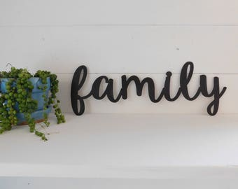 Family Sign, Metal Family Sign, Rustic Word Art Sign, Housewarming Gift Idea