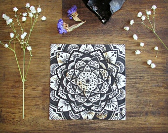 Tiny Mandala on Coffee Stained Paper Original Painting - Small Art - Intuitive Abstract Mandala Artwork - Ink and Coffee
