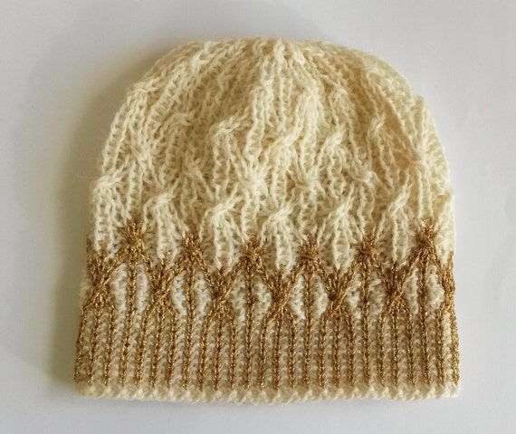 Aran Gold Beanie: handknit wool hat with gold detail. Original design. Unique hat. Made in Ireland. Princess crown hat! White gold beanie.
