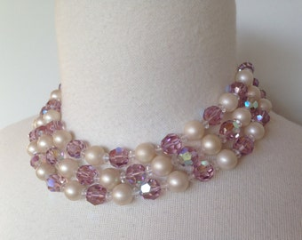 Beautiful Glass Crystal Beaded Pearl Vintage 60s Mod Rockabilly Pinup Choker Necklace