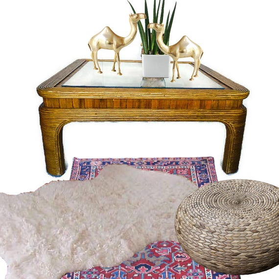 Rattan Coffee Table Etsy: Items Similar To Vintage Coffee Table Bamboo Reed Rattan