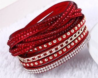 x 1 red leather bracelet multilayer chain/rivet/rhinestone metal gold 40 cm