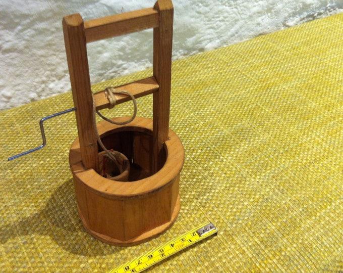 Vintage fountain with crank Handmade miniature