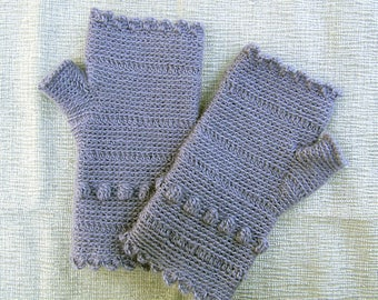 Lavender Scalloped Fingerless Gloves crocheted feminine wrist warmers texting gloves