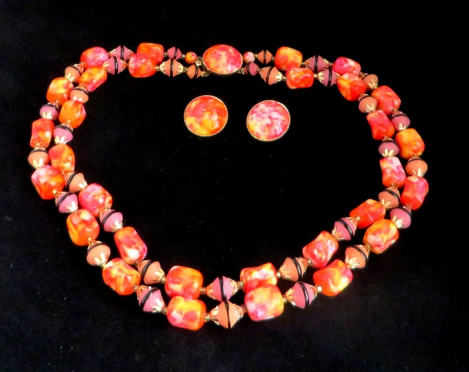 Orange Necklace, Earrings, Vintage Pink & Orange Necklace, Chunky Necklace, Statement Necklace, Unique Jewelry Set, Gift For Her