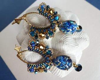 Earrings Baroque, vintage and swarovski crystal, gold and sapphire blue color cabochon.