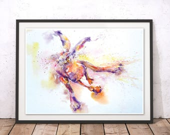 Mad March Hare Art Print, Jumping Hair Painting, Leaping Hare Print, Hare Watercolor, Rabbit Print, Hare Wall Art for New Home Gift by Liz