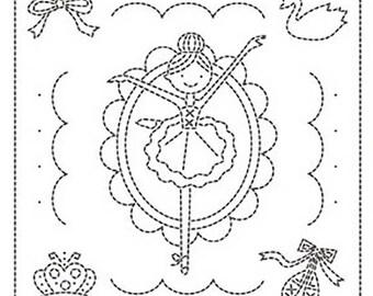 Sashiko Pre-printed Sampler - # 1042 - Swan Lake Ballerina - White