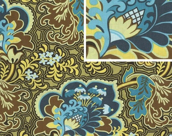 BELLE Amy Butler Fabric -1 Yard Gothic Rose Turquoise -yard cut, yardage available BTY