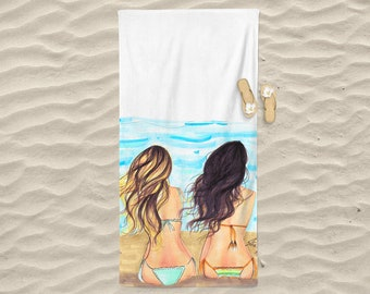 Beach Waves Towel (Fashion illustration- Melsy's Illustrations- Beach Towel - Princesses - Beach - Summer)