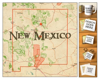 New Mexico Vintage Map Coasters, Mugs, Magnets, Keyrings & Prints
