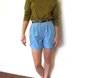 vintage shorts high waisted 80s light blue 1980s preppy womens clothing size small s medium m