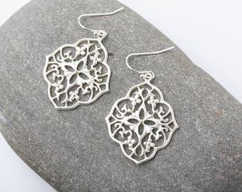 Silver Filigree Earrings, Silver Lace Earrings, Boho Earrings, Moroccan Earrings, Silver Earrings, Bridesmaid earrings, wedding earrings