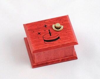 Birthday gift cake red  wooden music box - Happy Birthday To You