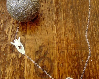 Sterling Silver Planet and Rocket Necklace - Space Necklace - Spaceship Charm