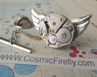 Steampunk Tie Tack Men's Tie Tack Steampunk Owl Pin Vintage Japan Citizen Watch Movement Silver Wings