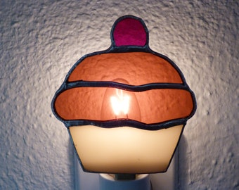 Cupcake night light etsy brown cupcake night light real stained glass wall plug in handmade womens mozeypictures Choice Image