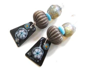 Boho Handmade Earrings - Enamel Murrini Charms, Basha Beads, Vintage Metal, Robin Egg Blue Glass