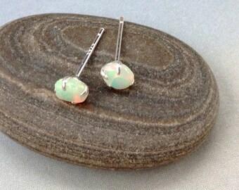 Ethiopian Opal Stud Earrings, October Birthstone Earrings, Opal Nuggets, Real Opal Stud Earrings, 5mm - 6mm, October birthstone, Welo opal