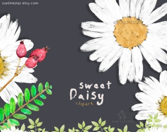 Watercolor Flowers Wreath Daisy Clipart: Rustic Floral Clipart, floral frames, flowers wreath, daisy, spring, summer, graphics, acrylic -120