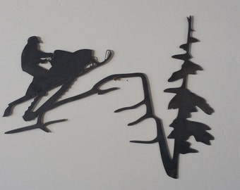 Snowmobile scene metal art, snowmobile metal art, snowmobile sign, mountain metal art