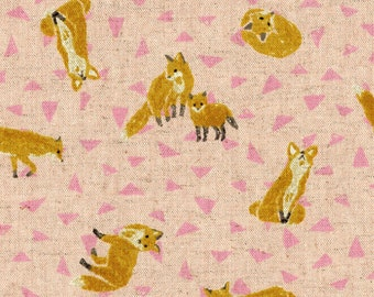 Fox Hole - Pink Background - Cotton/Linen Canvas - Cosmo Fabric