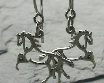 Sterling Silver Horse Earrings. Equestrian Jewelry. Gift For Her. Horse Charms. Solid 925 Sterling Silver Handmade Earrings.