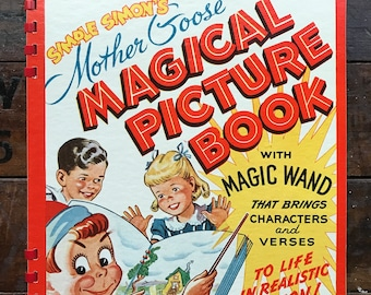 Simple Simon's Mother Goose Magical Picture Book with Magic Wand ~ Vintage Children's Activity Book ~ 1946