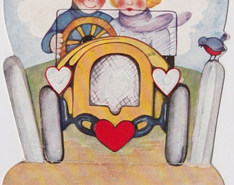 Antique Roaring 20's Standing Valentine Card Couple in Old Sports Car USED