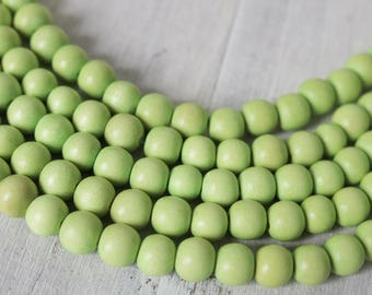 wood beads, 6mm beads, light green beads, boho beads, natural beads, full strand,