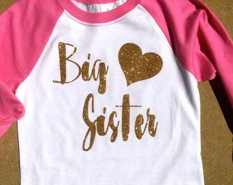 Big Sister With Heart 3/4 Raglan Top.