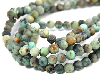 """African Turquoise Beads Matte 4mm, Two 15"""" strands"""