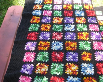 Bright Colors Crocheted Afghan Granny Squares Black Border Vintage Handmade 1970's