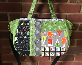 Nerdy Science Tote, Science and Math Purse, Physics, Chemistry, Math