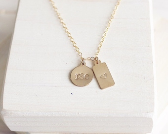 Gold Filled Duo Tag Necklace | Personalized Necklace | Mini Tag Necklace