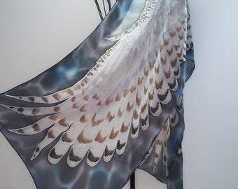 Hand painted silk scarf - The Snowy owl- owl silk scarf-bird scarves-wings scarf