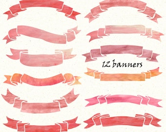 Watercolor Banners clip art,12 clipart banners,12 handpainted watercolor Ribbons