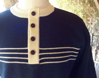 Mens Vintage Wool Knit Pullover Sweater Crew Neck w/ 4 Button opening