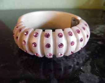 Bakelite Clamper Bracelet In A Soft Pink Color With Rhinestones