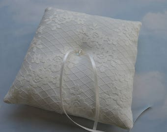 Ring pillow, Lace and satin ring cushion for wedding rings, Wedding ring bearer pillow